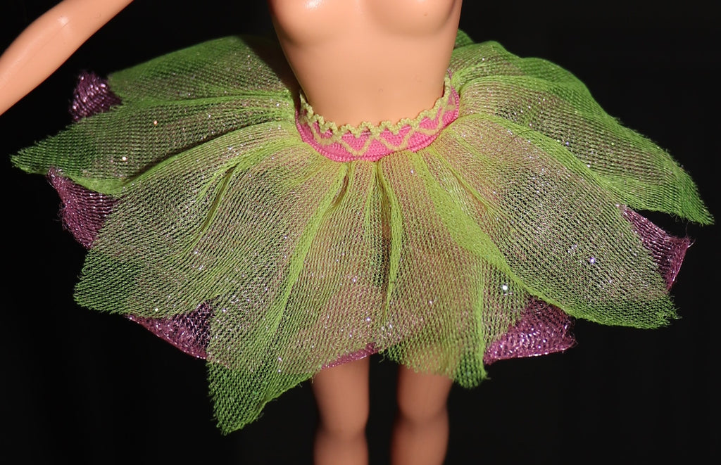 Barbie Size Clothes -- Sheer Fairytopia Style Skirt Pink & Green