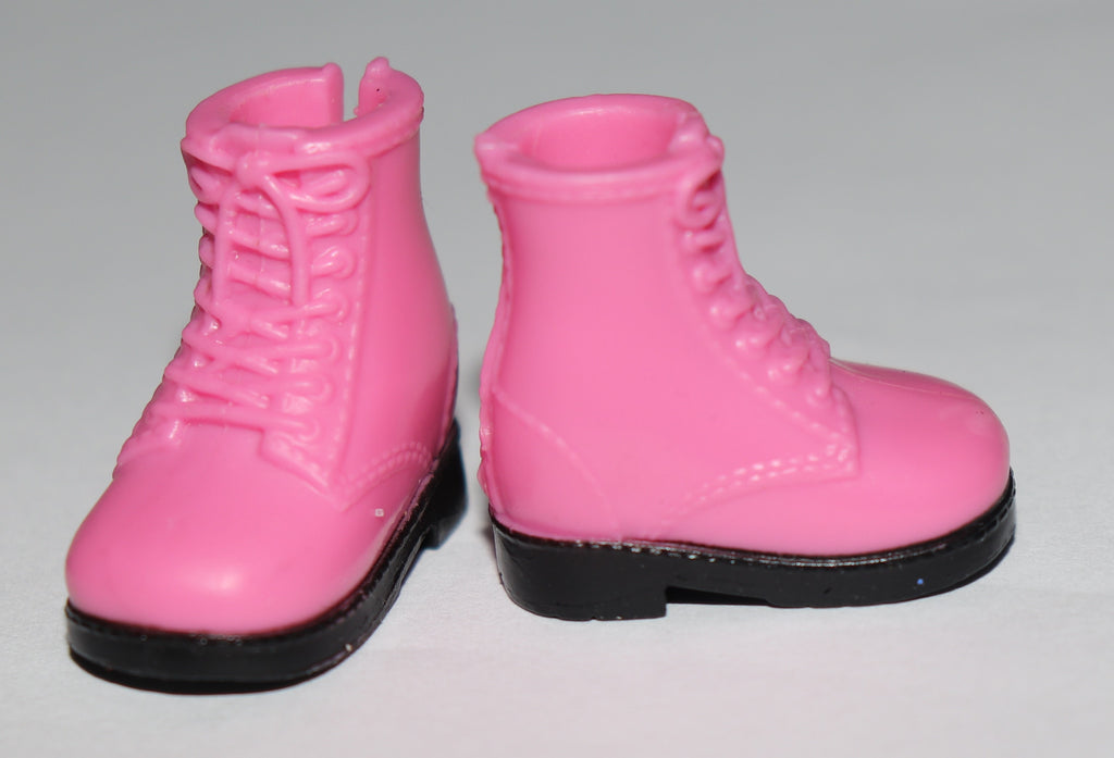 Barbie Size Shoes -- Pink High Top Ankle Boots W/ Black Soles