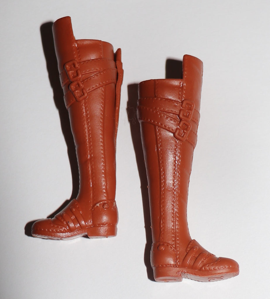 Barbie Shoes -- Brown Tall Boots for Flat Footed Doll, MTM