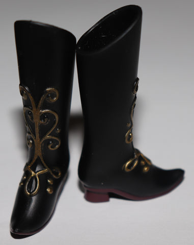 Frozen Ana Barbie Size Shoes -- Black Tall Boots W/ Gold FIligree Design