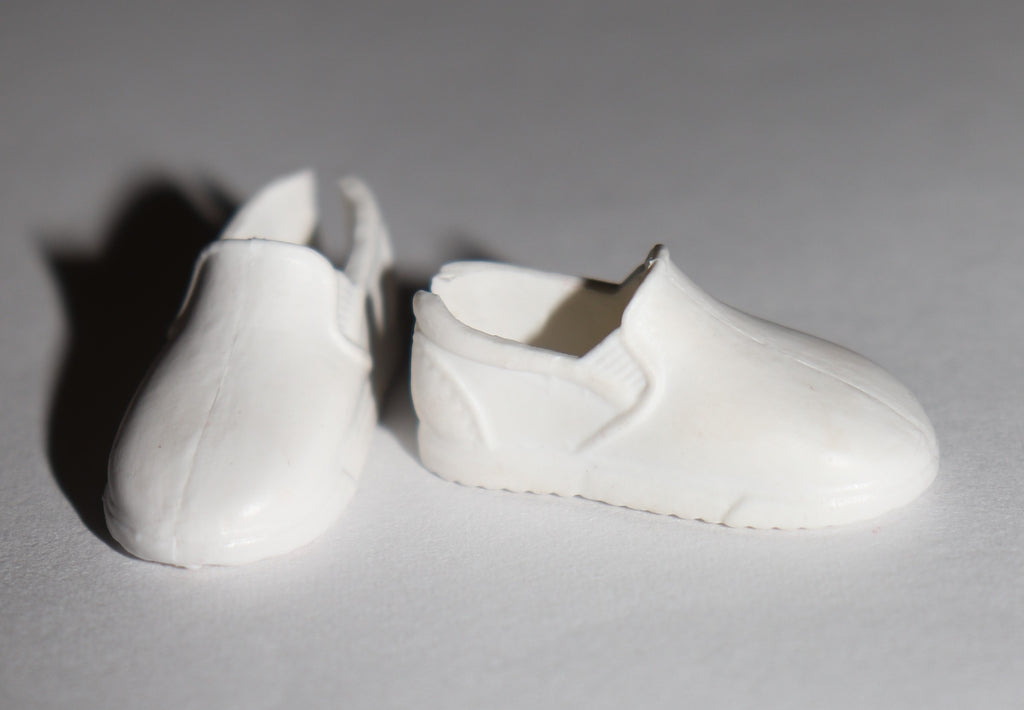 Stacie Doll Shoes -- White Loafers Fit MTM Barbie, Skipper