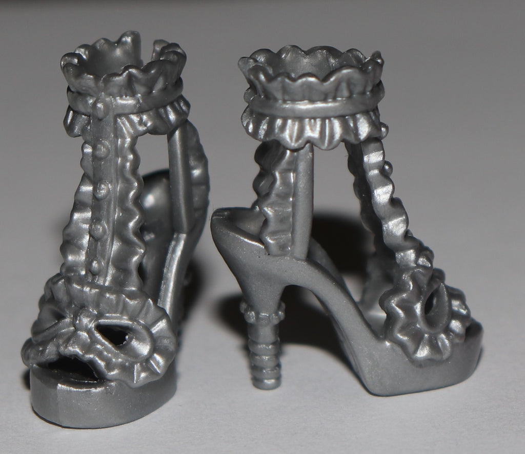 Barbie Shoes -- Silver Barbie HIgh Heel Sandals W/ Ruffles