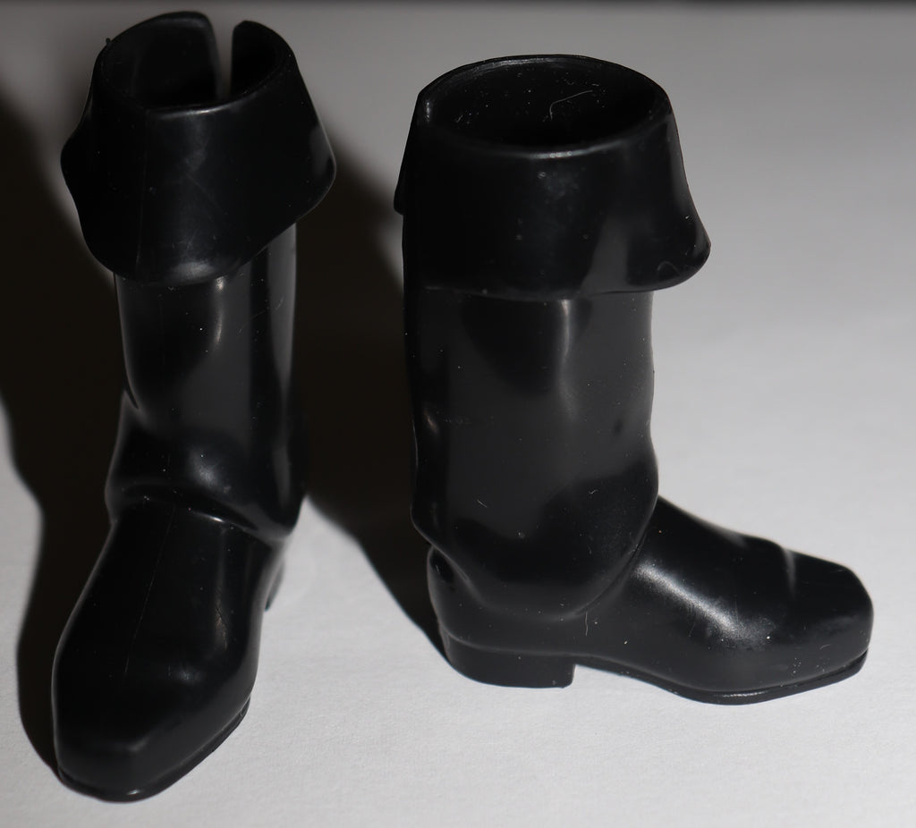 Ken Doll Size Shoes -- Tall Glossy Black Rubber Boots W/ Cuffs