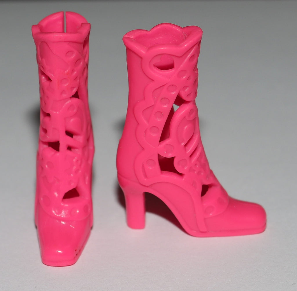 Barbie Shoes -- Princess & The Pop Star Tori Pink Boots W/ Cut Outs