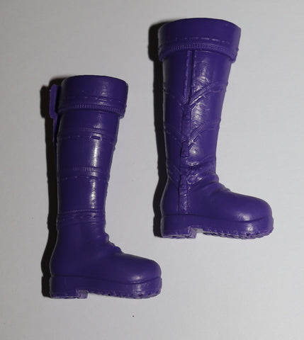 Barbie Size Boots -- Purple Tall Snow Boots for Made to Move, Flat Feet