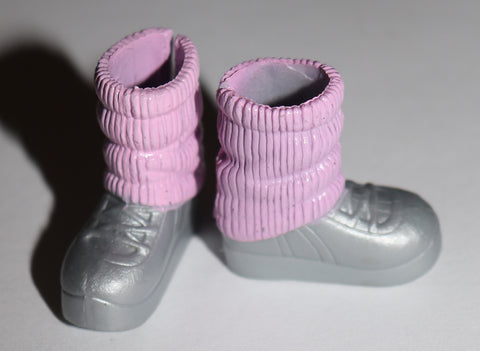 Barbie Family Stacie Shoes -- Pink Leg Warmers W/ Attached Silver Sneakers