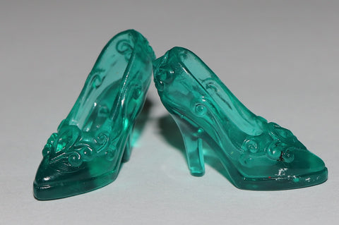 Barbie Sized Shoes -- Translucent Jewel Emerald Green Pumps