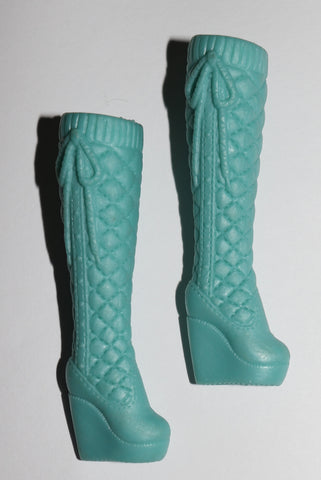 Barbie Size Shoes -- Blue-Green Teal Quilted Platform Wedge Heel Tall Boots