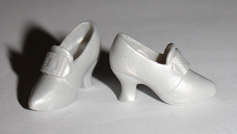 Barbie Size Shoes -- Modern Pearly Silver Pilgrims
