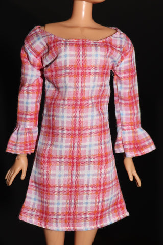 Barbie Size Clothes -- Pink Plaid Cotton Dress W/ Long Sleeves