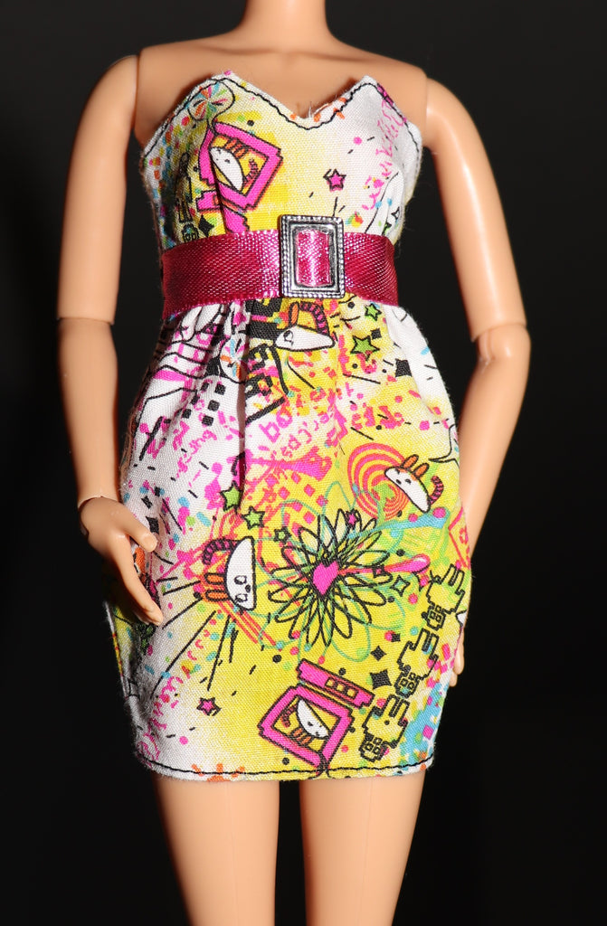 Barbie Clothes -- Strapless Mini Dress W/ Robots and Mice Print