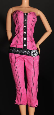 Barbie Clothes -- Pink Glittery Jump Suit W/ Attached Belt