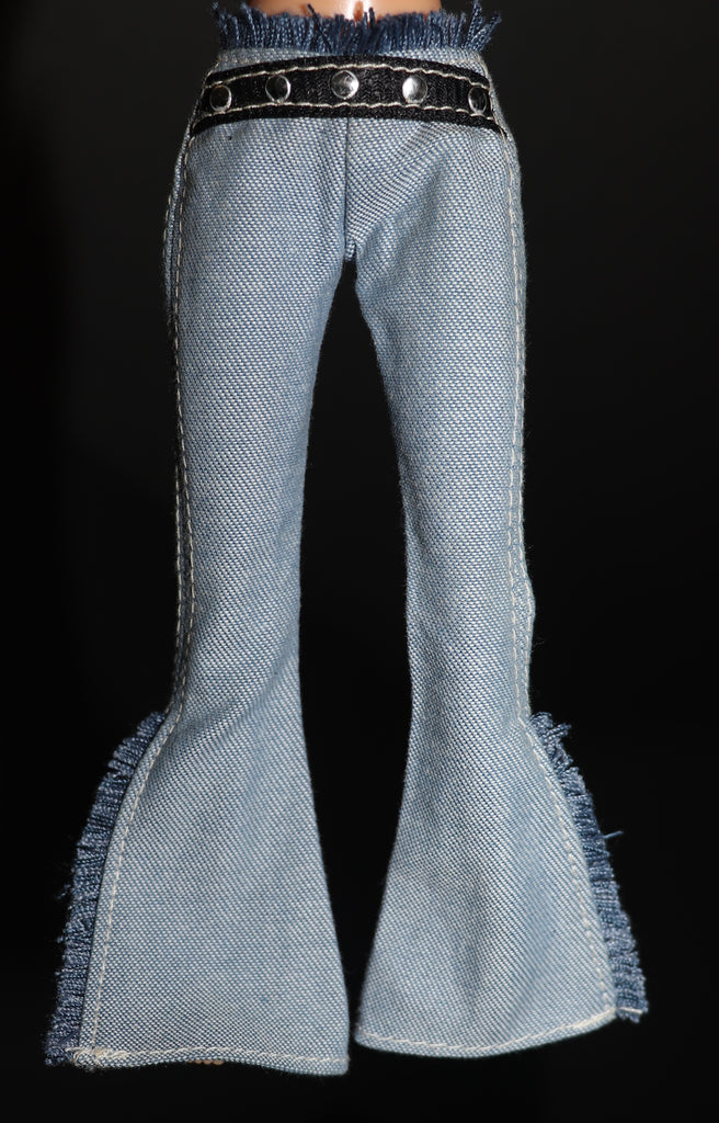 Barbie Clothes -- Denim Bell Bottoms W/ Fringe, Attached Belt