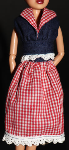 Barbie Size Clothes -- Home Made Red Check and Blue Denim Top/Skirt