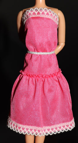 Barbie Clothes -- Pink Superstar Era Dress W/ Silver Belt
