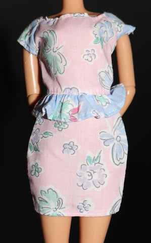 Barbie Clothes -- Pink Pastel Dress W/ Ruffle (Purple Tag)