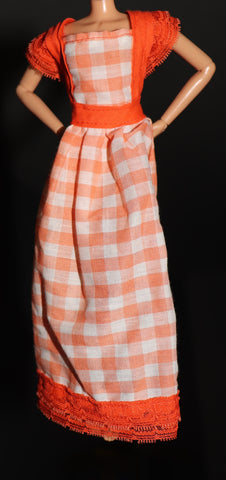 Barbie Size Clothes -- Beautiful Done Home Made Orange Check Dress