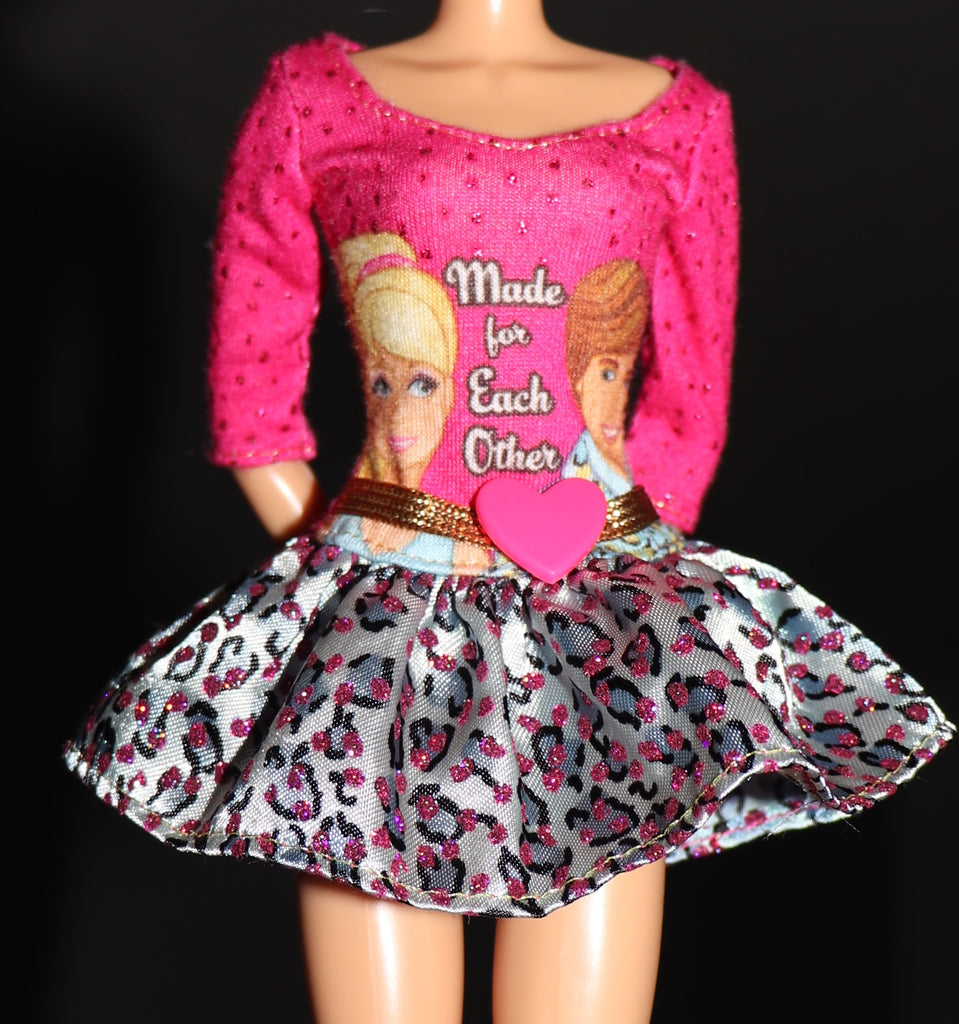 "Barbie Clothes -- ""Made For Each Other"" Pink & Silver Mini Dress"