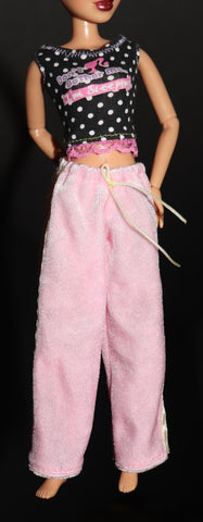 Barbie Clothes -- Black and White Polka Dot Pajama Top and Fuzzy Pants
