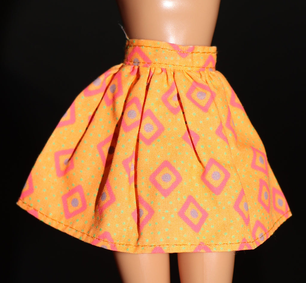 Barbie Clothes -- Orange Mini Skirt W/ Diamond Print