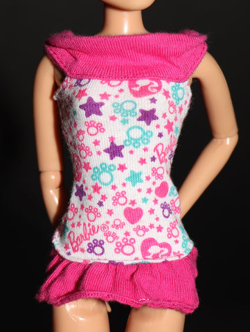 Barbie Clothes -- Knit Sleeveless Off-The-Shoulder Top W/ Pink Ruffles