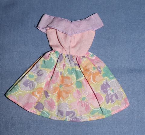 Barbie Clothes -- Pink Purple Pastel Floral Print Mini Dress (Purple Tag)