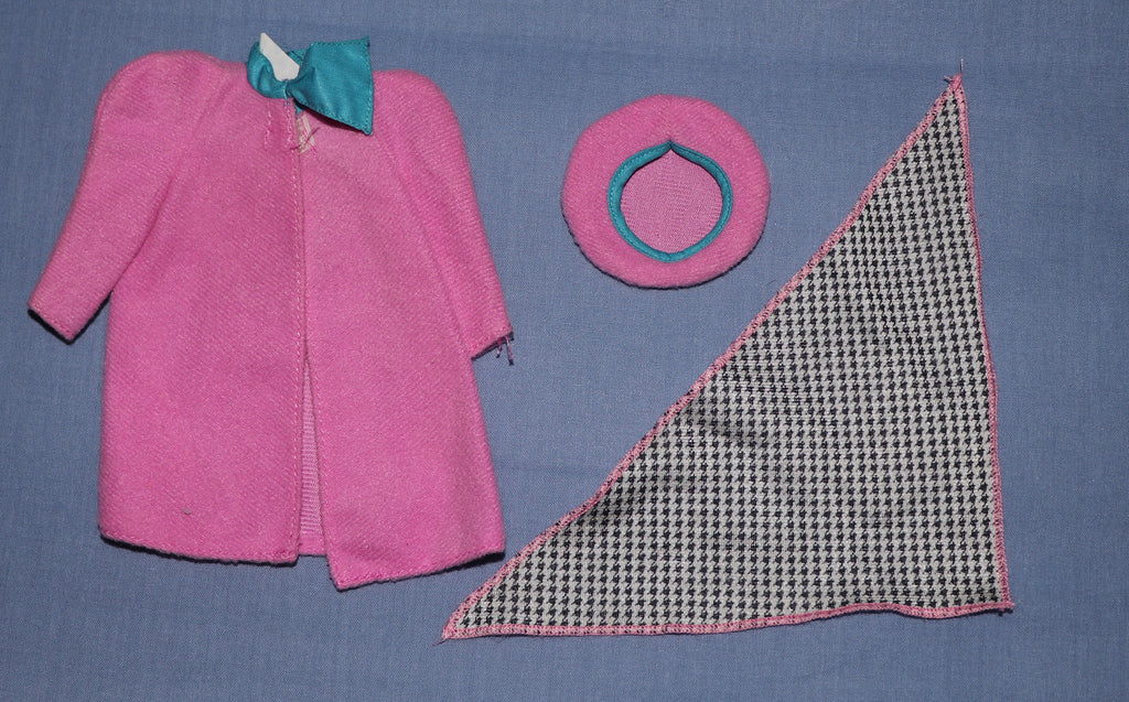 Barbie Clothes -- Rose Pink Coat, Hat, and Scarf (Purple Tag)