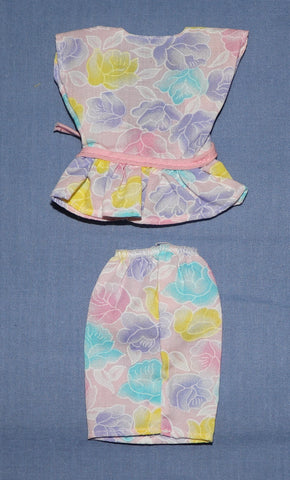 Barbie Clothes -- Pastel Floral Print Skirt and Top (Purple Tag)