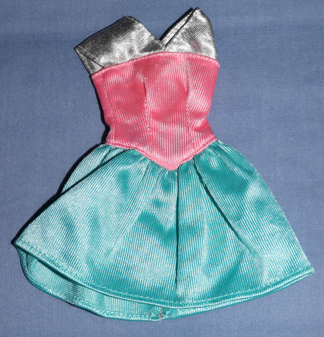 Barbie Clothes -- Teal Pink Silver Tricot Mini Dress