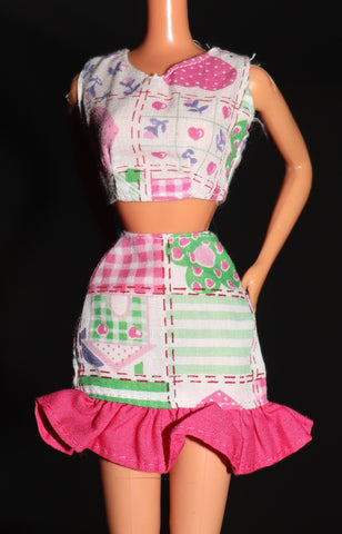 Barbie Clothes -- Patchwork Skirt Crop Top (Purple Tag)
