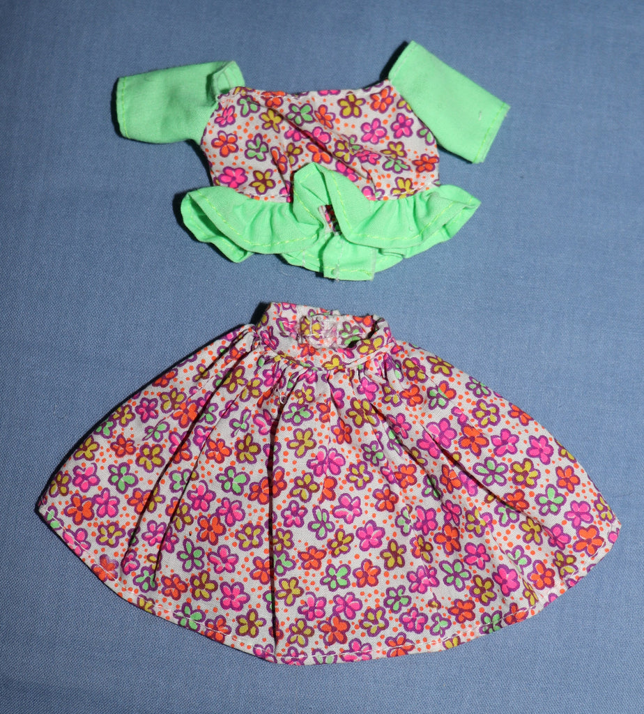 Barbie Clothes -- Neon Green & Ruffled Floral Print Skirt Top (Purple Tag)