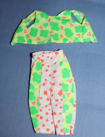 Barbie Clothes -- Green Orange White Capris Top (Purple Tag) TLC