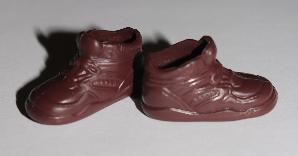 Flat Footed Barbie Shoes -- Chocolate Brown Sneakers