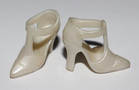 Barbie Shoes -- Pearly White Modern T-Straps T Strap Sandals