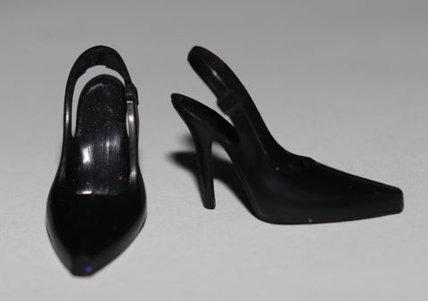 Barbie Shoes -- Black High Heels Slingbacks