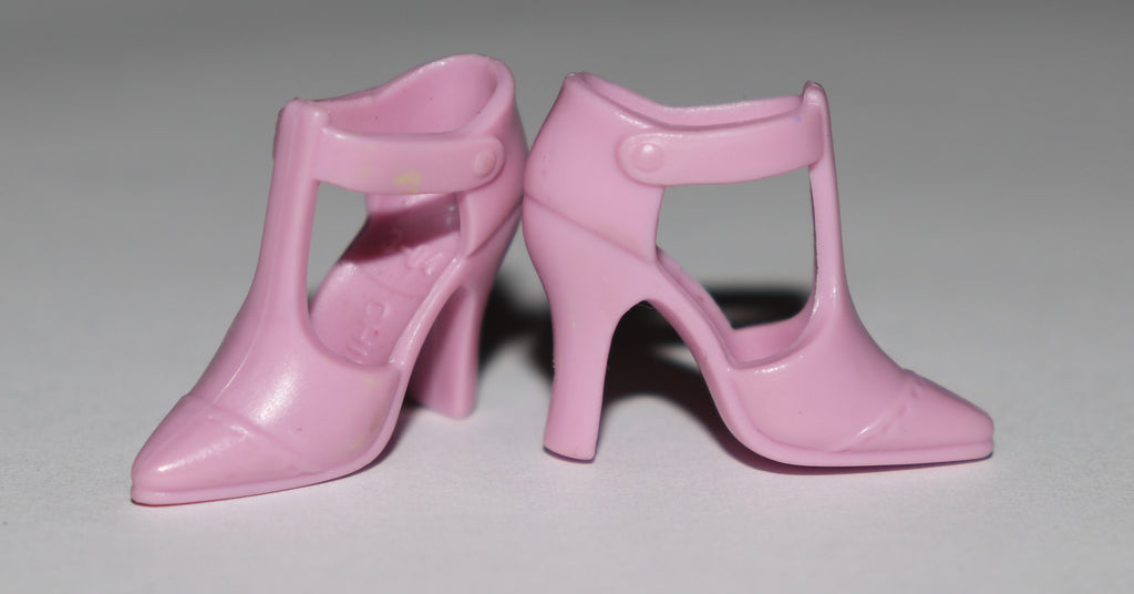 Barbie Shoes -- Rose Pink Modern T-Straps High Heels