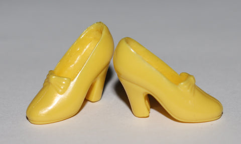 Barbie Size Shoes -- Yellow Disney Princess Pumps W/ Bows