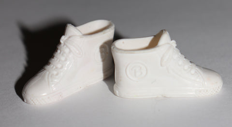 Barbie Shoes -- White Rubber Retro High Top Sneakers W/ B Logos