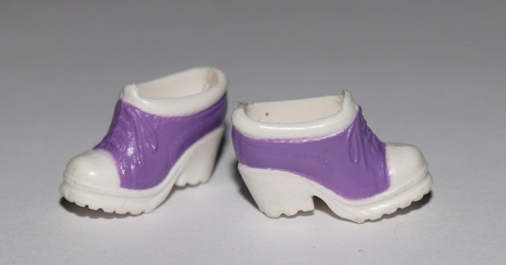 Barbie Shoes -- Purple and White High Heel Sneakers