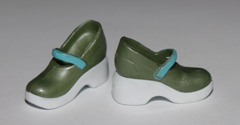 Barbie Shoes -- Green and Blue Mary Janes HTF