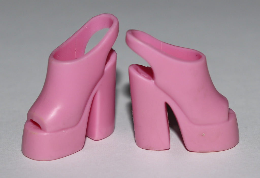 Barbie Shoes -- Pink Stacked Platform Slingbacks