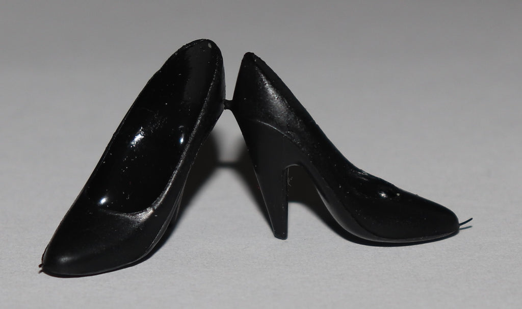 Barbie Size Shoes -- Black Superstar Style Skinny Pumps