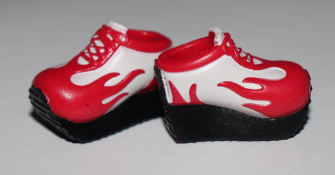 Barbie Shoes -- Red & White Chunky Sneakers Flames