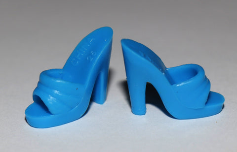 Barbie Shoes -- Medium Blue Dainty Mules