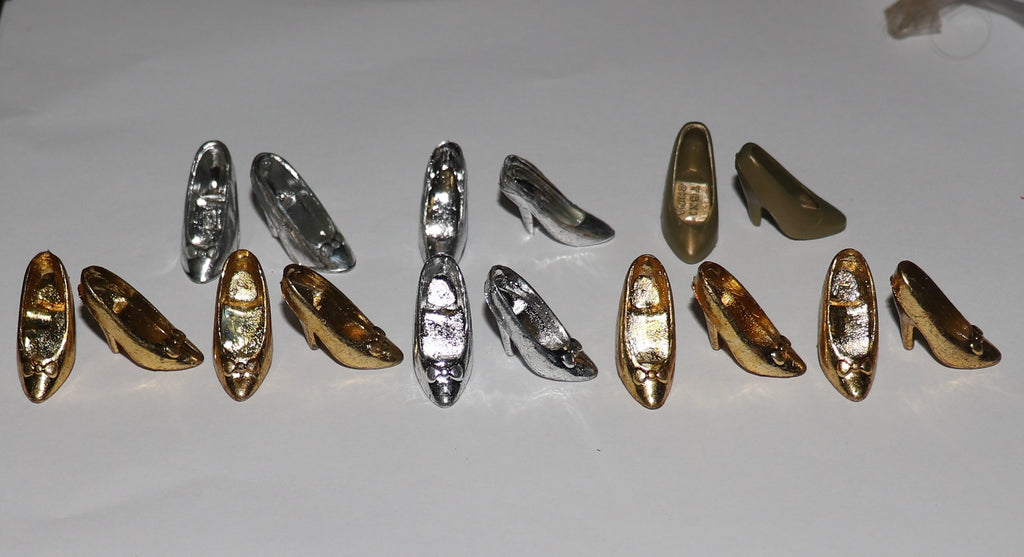 Barbie Size Shoes -- Lot of Gold Silver Chrome Pumps (Read Description!)