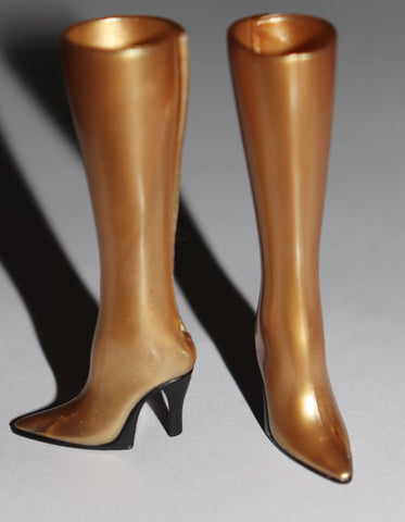 Barbie Shoes -- Gold High Heel Tall Boots W/ Back Slits