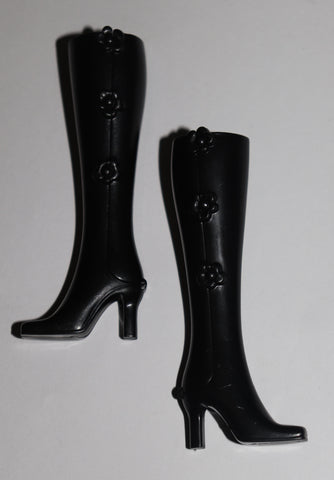 "Barbie Size Shoes -- Tall Black Plastic Hinged ""Click"" Boots HTF"
