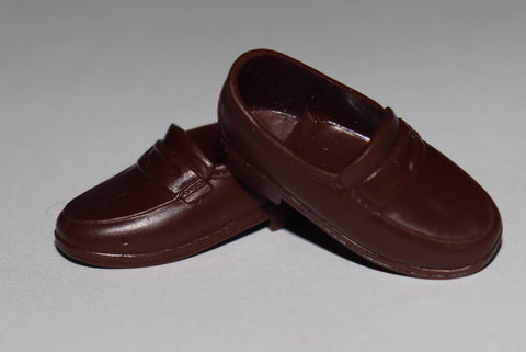 Ken Doll Shoes -- Chocolate Brown Penny Loafers (China)