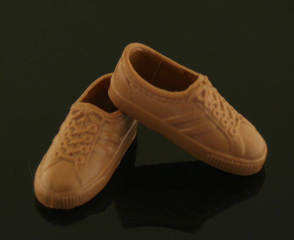 Ken Doll Shoes -- Light Brown/Tan Retro Sneakers (China)