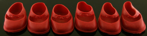Vintage Baby Doll Shoes -- 3 Pairs Red Mary Janes